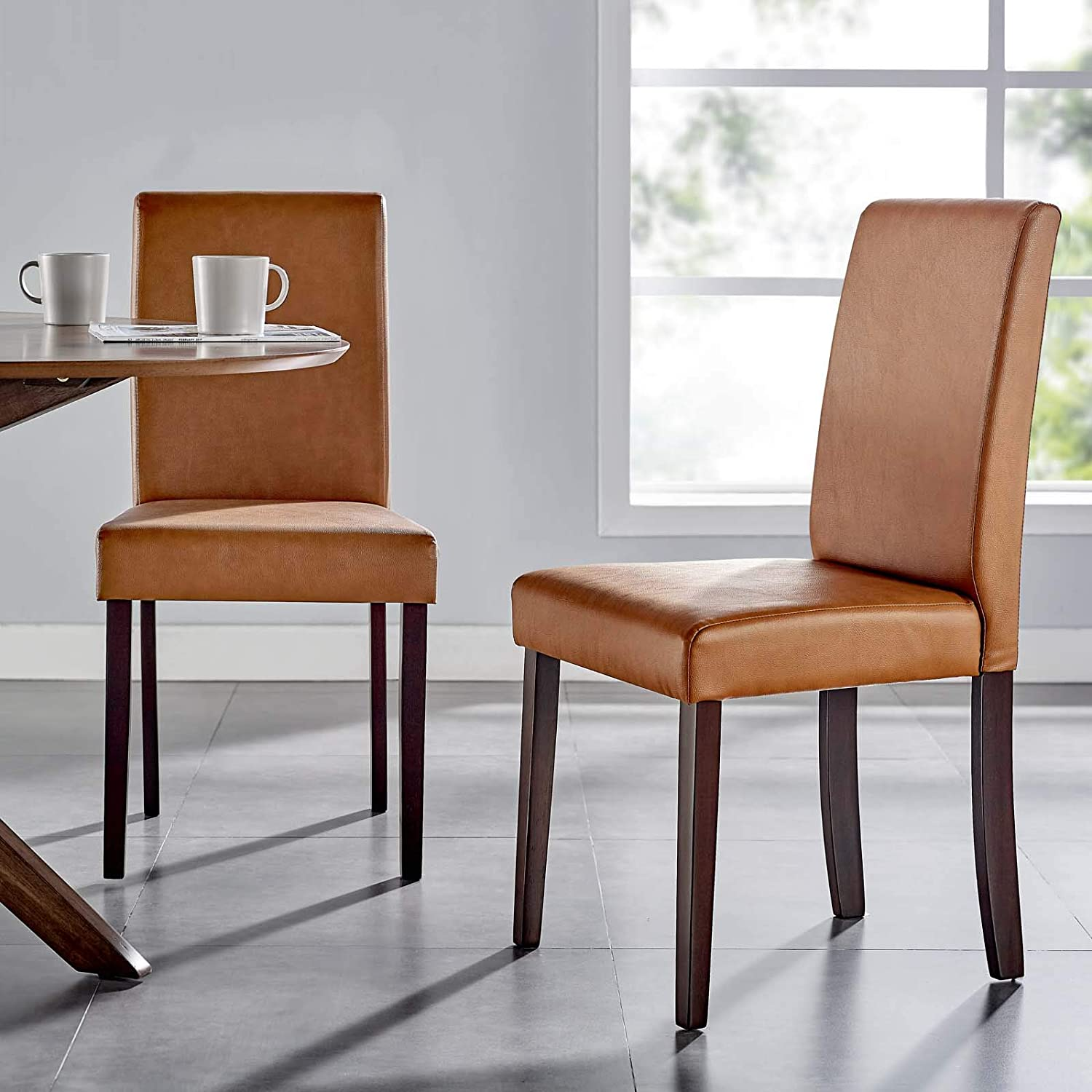 tall-backrest-upholstered-parsons-dining-chair-standard-traditional-legs-cognac-vegan-leather-fabric