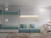 turquoise-and-white-kids-room