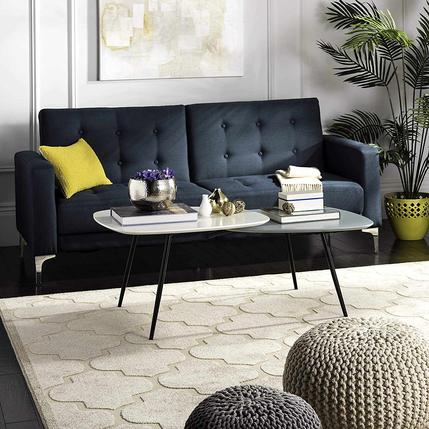 white-and-grey-coffee-table-unique-tabletop-shape-dual-height-layered-design-tapered-black-legs-retro-living-room-furniture