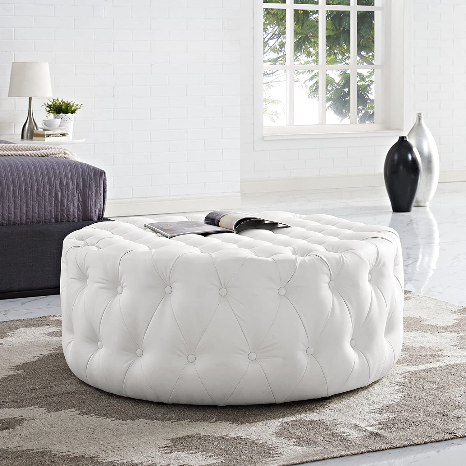 white-leather-ottoman-coffee-table-button-tufted-vinyl-plush-upholstered-living-room-table