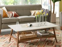 white-mid-century-coffee-table-wood-base-open-lower-shelf-white-top-affordable-vintage-style-furniture-for-small-living-rooms