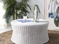 white-ottoman-coffee-table-wicker-rattan-round-natural-furniture-for-bohemian-chic-coastal-farmhouse-nautical-decor-themes