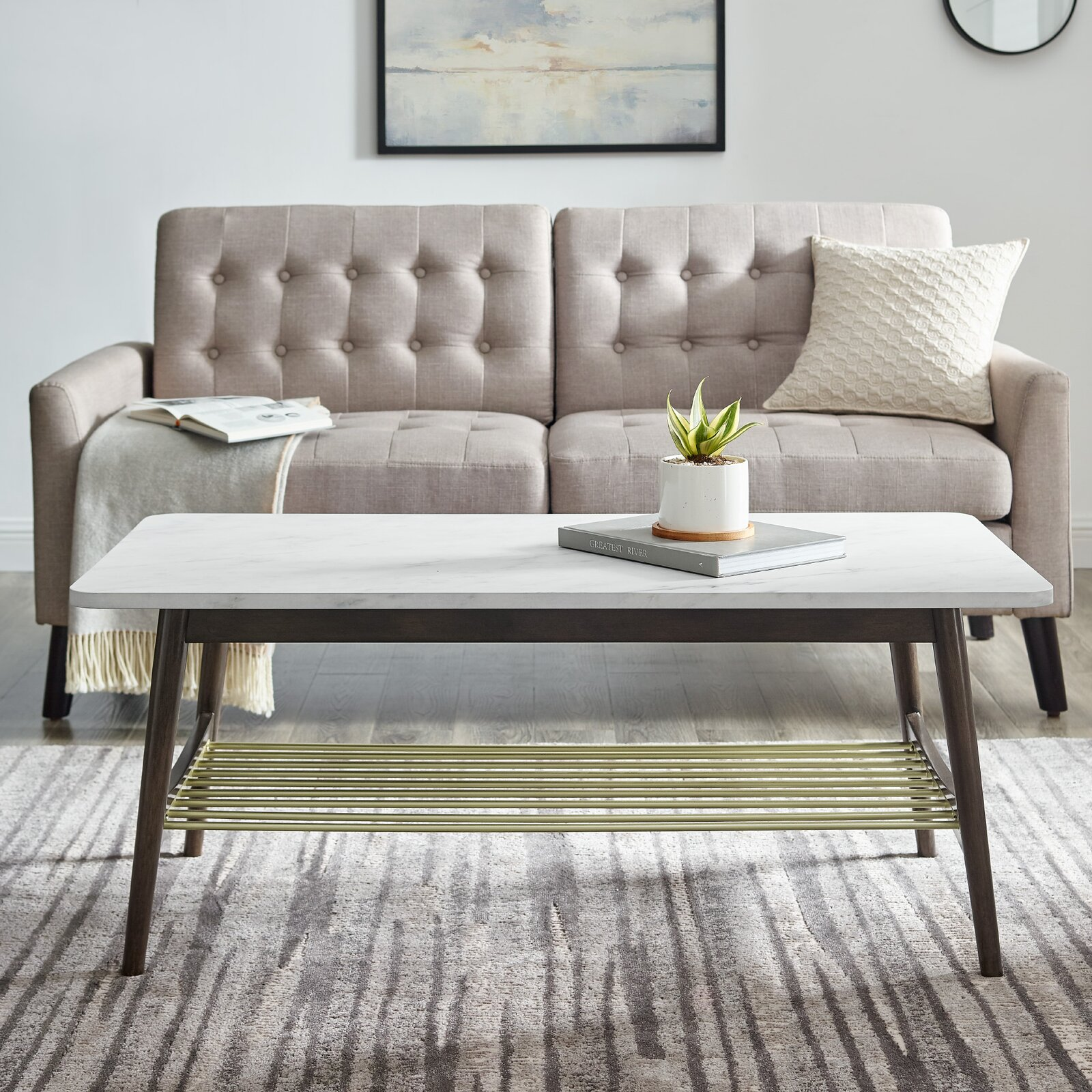 white-rectangle-coffee-table-dark-tapered-legs-brass-lower-shelf-unique-faux-marble-high-quality-furniture-for-mid-century-modern-living-room-ideas