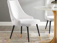 white-upholstered-dining-chair-glamorous-furniture-inspiration-button-tufted-backrest-black-mid-century-modern-legs-gold-feet