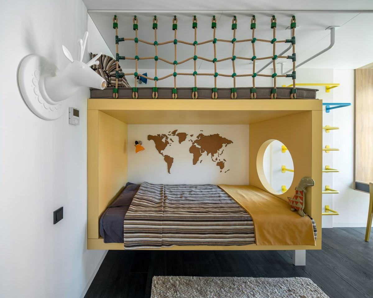 yellow-and-white-kids-room