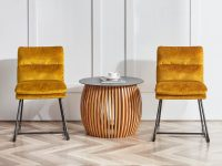 yellow-upholstered-dining-chairs-comfortable-padding-channel-tufting-metal-sled-base-unique-furniture-for-modern-dining-room