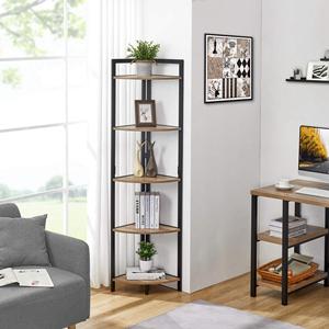 desk and 5tier industrial bookshelf