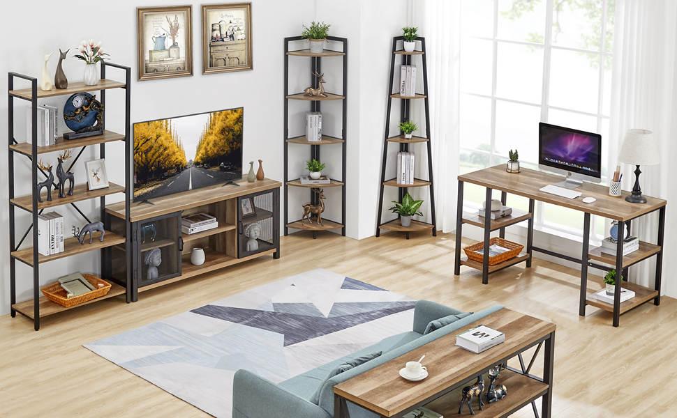 Industrial wood corner bookshelf and bookcase