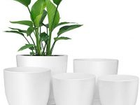 Plastic Planter, HOMENOTE 7/6/5.5/4.8/4.5 Inch Flower Pot Indoor Modern Decorative