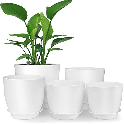 Plastic Planter, HOMENOTE 7/6/5.5/4.8/4.5 Inch Flower Pot Indoor Modern Decorative Plastic Pots for Plants with Drainage Hole and Tray for All House Plants, Succulents, Flowers, and Cactus, White