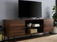 Mid Century Modern 2 Door Glass Shelf TV Stand for TVs up to 80 Inches