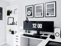 black-and-white-home-office