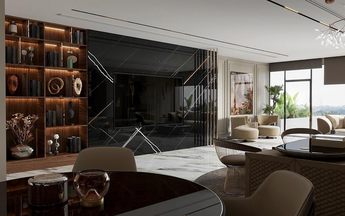 black-marble-tv-wall