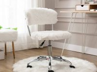 faux-fur-white-armless-office-chair-glamorous-cute-home-office-furniture-for-work-from-home-vanity-bedroom-study-desk