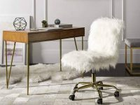 luxurious-white-gold-office-chair-faux-fur-sheepskin-upholstery-glamorous-home-office-design-ideas
