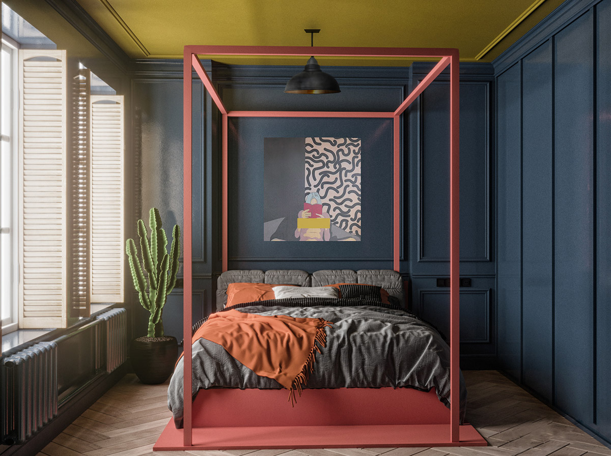 red-four-poster-bed