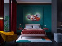 teal-and-red-bedroom
