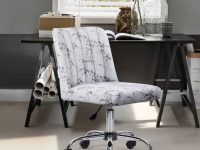 white-upholstered-office-chair-with-marble-print-channel-tufted-back-glam-furniture-ideas-for-home-office
