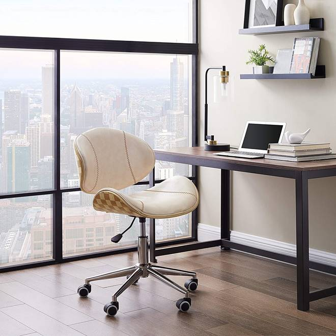 white-wooden-office-chair-mid-century-modern-work-from-home-furniture-ideas-and-inspiration-for-small-spaces