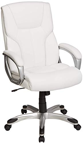 Amazon Basics Executive Office Desk Chair with Armrests, Adjustable Height/Tilt, 360-Degree Swivel, 275Lb Capacity - White/Pewter