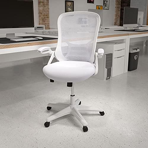 Flash Furniture High Back White Mesh Ergonomic Swivel Office Chair with White Frame and Flip-up Arms