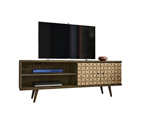 Manhattan Comfort Liberty TV Stand, Medium, Brown/3D Print