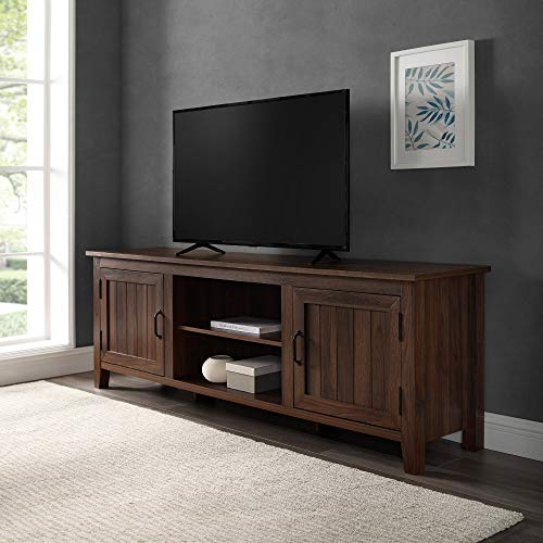 Walker Edison Ashbury Coastal Style Grooved Door TV Stand for TVs up to 80 Inches, 70 Inch, Dark Walnut