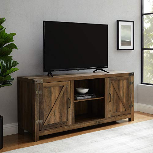 Walker Edison Georgetown Modern Farmhouse Double Barn Door TV Stand for TVs up to 65 Inches, 58 Inch, Rustic Oak