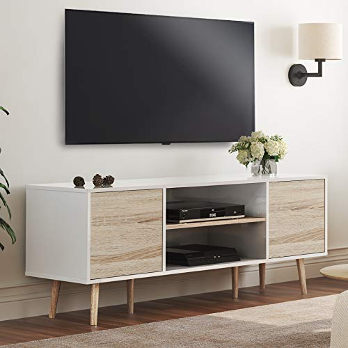 WAMPAT Mid-Century Modern TV Stand for TVs up to 60 inch Flat Screen Wood TV Console Media Cabinet with Storage, Home Entertainment Center in White and Oak for Living Room Bedroom and Office, 55 inch