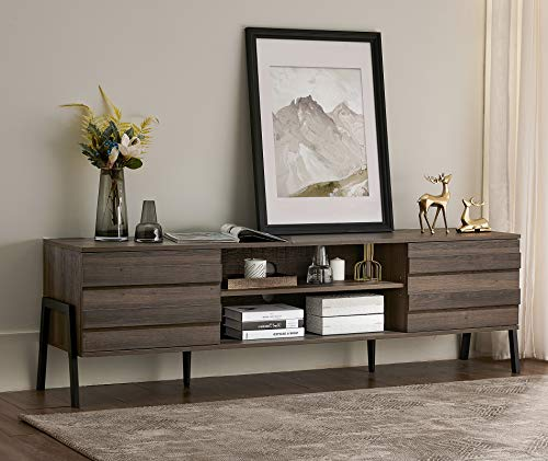 WAMPAT Mid-Century TV Stand for TVs up to 75 inch Wood Modern Entertainment Center Retro TV Console Storage Cabinet for Living Room,Brown